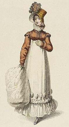 Walking dress the year Jane Austen died Jane Austen, Regency Dress, Regency Era, Corsage, Historical Clothing, Historical Dress, Empire Style, Fashion Plates, Fashion History