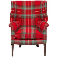 Early 20th C. George III Style Wing Chair ❤ liked on Polyvore featuring home, furniture, chairs, accent chairs, chair, woven chair, plaid furniture, woven furniture, george iii furniture and plaid chair