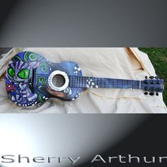 Painted Guitar Cheshire Cat Checkerboard Hat by sherryarthur