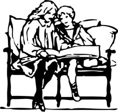 children reading by johnny_automatic - two children reading a book from a PD book's bookplate