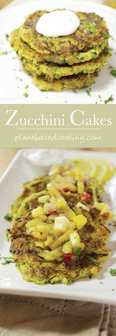Vegan Zucchini Cakes #plantbased #vegan #wfpb