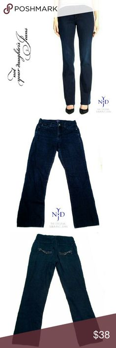 "NYDJ  BLUE DARK WASH BOOTCUT JEANS NYDJ BLUE DARK WASH BOOTCUT JEANS Pre-Loved / Pic for Similarity  *.  Size 8 RN# 132016 *.  Blue Dark Wash 5 Pocket Jeans *.  Embellished Back Pockets *   86% Cotton 13% Polyester 1% Spandex *.  Approx Meas; Waist; 15 1/2"" Inseam; 32""  Rise; 10"" Leg Opening; 9"" NYDJ Pants Boot Cut & Flare"