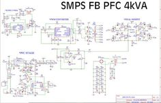 SMPS Fullbridge PFC Power Factor Correction 4kVA 4000W, 90VDC 35A download the PCB Layout design and schematic in PDF files. Switching mode power supply full bridge PFC schematic and PCB Electronic Circuit Projects, Electronic Engineering, Power Electronics, Electronics Projects, Pc Image, Switched Mode Power Supply, Metal Bending Tools, Diy Amplifier, Power Supply Circuit