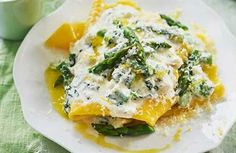 Asparagus and ricotta open lasagne