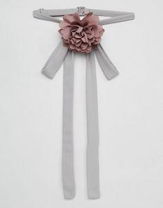 ASOS | ASOS Gray & Pink Corsage Neck Tie