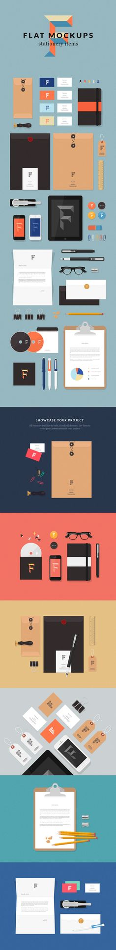 Flat MockUps – Stationery Items :: free download