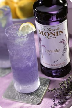 Monin Gourmet Flavorings : Monin Lavender Syrup Need this for my Lavender Vodka! Fun Drinks, Yummy Drinks, Beverages, Mixed Drinks, Lavender Syrup, Lavender Drink, Lavender Martini, Glace Fruit, Lavender Cottage