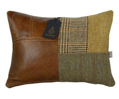 Items similar to Patchwork McKenzie Harris Tweed Armchair on Etsy Sewing Pillows, Wool Pillows, Diy Pillows, Textiles, Vêtement Harris Tweed, Patchwork Cushion, Leather Pillow, How To Make Pillows, Leather Projects