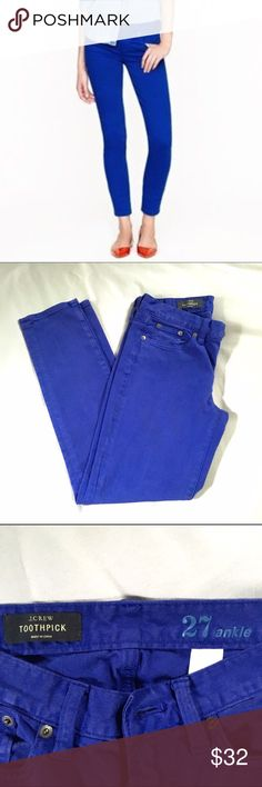J. Crew Toothpick Ankle Jeans J. Crew toothpick style ankle jeans in a fun indigo color. Size 27, gently worn, but with a lot of life left. No flaws or stains, just clearly have gone through the washing machine a few times! J. Crew Jeans Ankle & Cropped