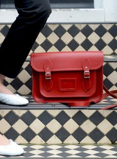 Cambridge satchel company red - love the red against the B/W steps!
