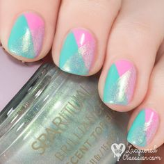 lacqueredobsessionblog:  This is @sparitualist Brilliance iridescent top coat in action! I has tiny #holographic particles and lovely greenish #shimmer. I painted it over @claireseurope Strawberry and @catrice.cosmetics (S)wimbledon.