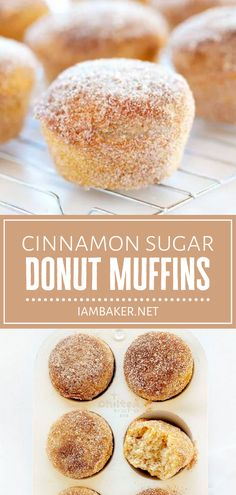 Satisfy your sweet tooth with a quick bite of Cinnamon Sugar Donut Muffins! This recipe is easy to make on fall, combining a donut and a muffin in mini-sized treats that are fun to eat. Kids and adults will love them for breakfast or dessert! Save this fall menu idea! Easy Gluten Free Desserts, Homemade Desserts, Best Dessert Recipes, Easy Desserts, Fall Recipes, Cookie Recipes, Delicious Desserts, Muffin Recipes, Baking Recipes