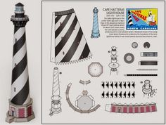 PAPERMAU: 1870`s Cape Hatteras Lighthouse Paper Model In 1/500 Scale by Wurlington Bros