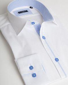 White spread collar shirt by Franck Michel Formal Shirts, Casual Shirts, Camisa Slim, Mens Kurta Designs, Mens Designer Shirts, Custom Made Shirts, Plain Shirts, Men Formal, Collar Shirts