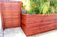Clear redwood modern horizontal fence