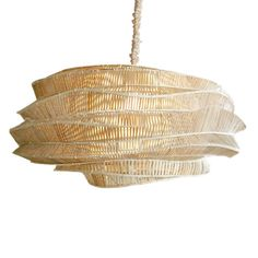 Bamboo Cloud Low Chandelier is available in a Whitewash (Cumulus) or Espresso (Nimbus) finish. Available in small or large. These modern lighting sculptures were designed by a young Thai artist who trained fishermen to use traditional bamboo weaving techniques in non-traditional ways. The geometric joints of these intricately woven chandeliers are hand-tied, making each lamp unique. Shown with a matching silk cord cover, sold separately. One 75 watt, 120 volt A19 Medium base incandescent…