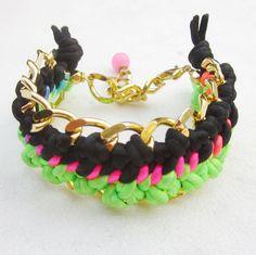 Double woven chain bracelet chunky  cuff by pieceofART, $30.00 #cuffbracelet #stackbracelets #handstampedbracelets #armcandy #neonbracelet #jewelry #friendshipbracelet #accessories #wovenbracelet #chainbracelet
