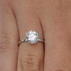 2 Round Cut Diamond Solitaire Engagement Ring Enhanced SI1/D 18K White Gold
