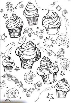 livro de colorir arteterapia criativa adult coloring pages cupcake