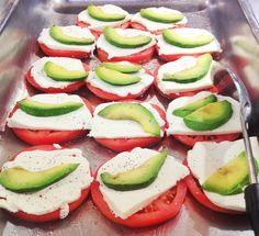 Tomatoe Slices. As a kid this was my favorite breakfast, only I put cheese on top of an english muffin, then tomatoe and avocado and I melted it in the oven. I really like this as a healthy gluten free snack.
