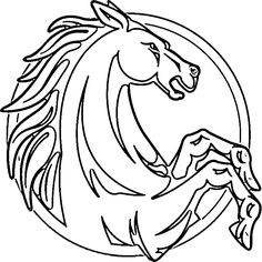 Rearing Horse Coloring Pages | Rearing Horses Coloring Page Pic #19