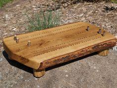 Cribbage Board, Handmade Bur Oak Cribbage Board,  Rustic Cribbage Board, Live Edge Hardwood Cribbage Board