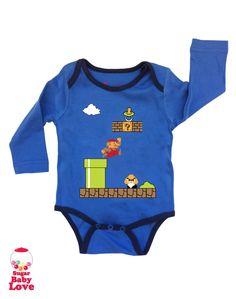 baby super mario onesie by SugarBabyLove on Etsy, $17.00