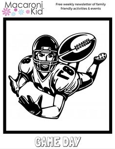 Game Day Receiver Coloring Sheet