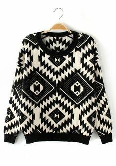 Black Geometric Round Neck Long Sleeve Cotton Sweater