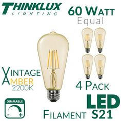 Classic Edison Bulb Style. LED Technology. NEW! Super Warm 2200K Color Temperature Version with Antique Amber Glass Thinklux Lighting introduces vintage style S