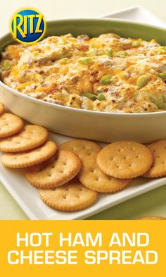 This Hot Ham and Cheese Spread is a sure bet no matter how you play it. Cream Cheese Dips, Cheese Spread, Ham And Cheese, Cheddar Cheese, Ritz Crackers, Hot Appetizers, Appetizer Dips, Appetizer Recipes, Best Dip Recipes