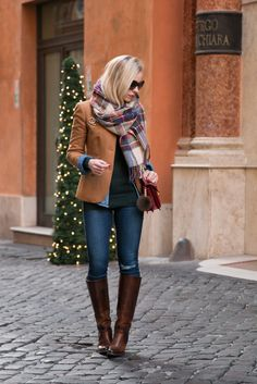 Christmas Colors: J. Crew camel blazer, red, green and blue plaid scarf, AG legging ankle jeans, Frye 'Mustang' riding boots, YSL red handbag, holiday outfit with plaid scarf, camel blazer and plaid scarf outfit, best place to find Frye boots on sale