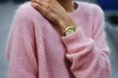 Pink fluffy mohair and chunky gold watch