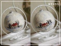 Art Christmas Gifts, Christmas Ornaments To Make, Felt Christmas, Christmas Decorations, Felt Diy, Felt Crafts, Wet Felting, Needle Felting, Handmade Ornaments