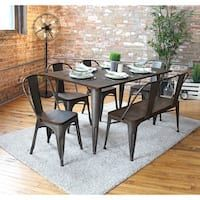 LumiSource Oregon Industrial-Farmhouse Dining Set (Oregon Rustic Dining Set w/ Bench), Brown, Size Sets Dining Chairs, Furniture, Dining Table In Kitchen, Metal Dining Table, Dining Furniture, Carbon Loft, Rustic Dining, Farmhouse Dining Set, Home Decor