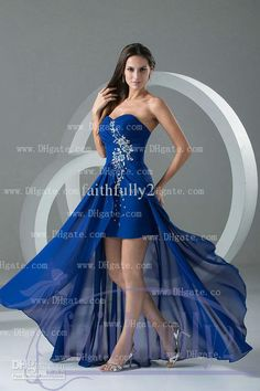 Wholesale Party Dress - Buy Dark Blue Sweetheart Hi Lo Sheath Prom Dresses Sequin Crystal Ruched Bodice Lace Up Evening Gown, $137.5 | DHgate