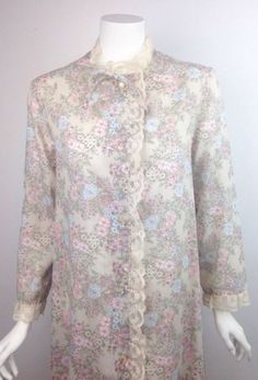 Label: Saks Fifth Avenue. Labeled a medium. Long robe/gown with pearlized buttons. Lightweight poly rayon blend fabric, in dark cream/khaki color with pink and blue rose floral print. Cream lace outlines the edges and neckline. | eBay!