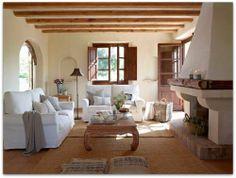 Salon in a summer house in Mallorca, Spain. El Mueble.