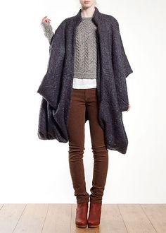 Chords, sweater, layered tee, cape