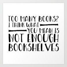 Too Many Books? (Lines) Art Print