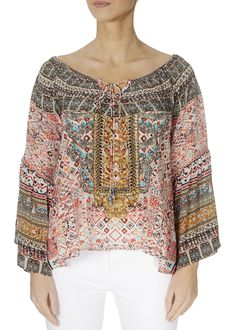 This is the 'Aleppo' Summer Boho Print Top by the ever-stunning brand, Inoa! Aleppo, Embellished Top, Loose Tops, Warm Weather, Knitwear, Ladies Tops, London, Silk, Boho