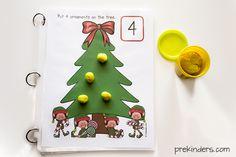 Christmas Tree Play Dough Math Mats
