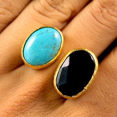 Double Stone Ring by Tiklari/Karla Diaz Cano and her team of Turkish artisans - completely handmade - Turkey Jewelry Box, Jewelery, Teal Jewelry, Tiffany Jewelry, Girls Jewelry, Jewelry Ideas, Gemstone Jewelry, Passion For Fashion, Love Fashion