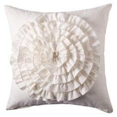 Boho Boutique Flower Applique Pillow - Ivory $19.99 or (diy by finding inexpensive white throw pillow and adding ruffle yourself.)