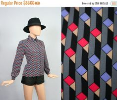 Vintage Op Art Geometric Top / Geo Graphic Secretary Blouse / Pendleton Shirt / Pop Art / Medium