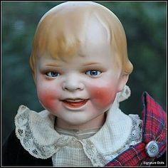 """17"""" Painted Bisque German character """"Gladdie"""" in Scotti - Signature Dolls #dollshopsunited"""