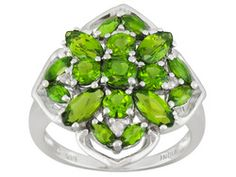 Chrome Diopside 2.88ctw And White Topaz Accent Sterling Silver Cluster Ring Erv $169.00