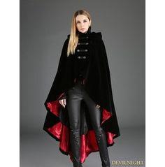 Black Gothic Female Woolen Long Hoodie Coat R Gothic Mantel, Victorian Coat, Gothic Coat, Dark Fashion, Gothic Fashion, Moda Steampunk, Coats For Women, Clothes For Women, Fashion Clothes
