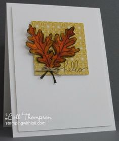 These leaves are watercolored using distress inks (video tutorial is on my blog), using a very simple and quick watercolor technique.  The leaves are fussy-cut and added to a panel of dsp with a twine bow and simple sentiment to finish.  For more information, check out [url=http://www.stampingwithloll.com/2014/09/watercolored-fall-leaves-with-distress.html]my blog.[/url]