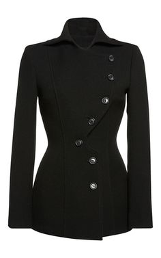 This **Roland Mouret** Inglas jacket features a notched lapel with a button down design and an a-line silhouette.